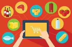 Compra de comida en línea ilustración del vector