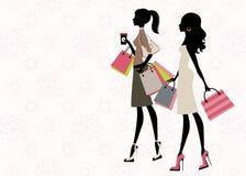 Compra de duas mulheres ilustração stock