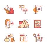 Compra de las propiedades inmobiliarias, vendiendo y alquilando las muestras fijadas Imagen de archivo libre de regalías