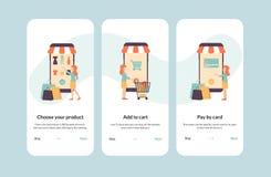 Compra de Onboarding, bandeira, moldes do app ilustração stock