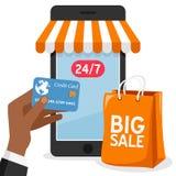 Compra de Smartphone com saco alaranjado ilustração royalty free