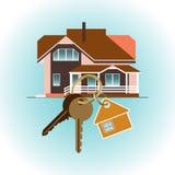Compra de una nueva casa Llavero en fondo de la casa ilustración del vector
