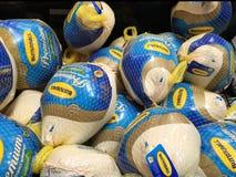 Compra de una Turquía en un supermercado para la acción de gracias Fotografía de archivo libre de regalías
