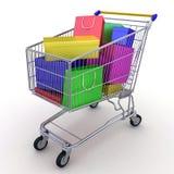 Compra del regalo. Carro de compras por completo de rectángulos. 3d Imagen de archivo