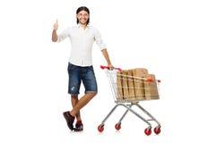 Compra do homem com o carro da cesta do supermercado isolado Imagens de Stock