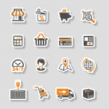 Compra do Internet e grupo do ícone da etiqueta da entrega ilustração royalty free