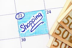 Compra do lembrete no calendário com as cédulas de 50 euro Imagens de Stock