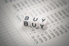 Compra do texto do cubo das letras no inventário de stock foto de stock royalty free
