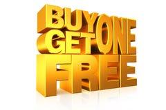 a compra 1 do texto do ouro 3D obtém 1 livre Foto de Stock Royalty Free