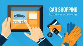 Compra dos acessórios do carro ilustração stock