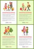 Compra dos feriados do Natal da família e dos amigos ilustração do vetor