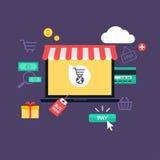 Compra e comércio eletrônico em linha do conceito ilustração do vetor