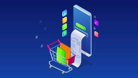 Compra e pagamento em linha isométrico, venda, consumição, e loja em linha Mercado e com?rcio eletr?nico m?veis Internet ilustração stock