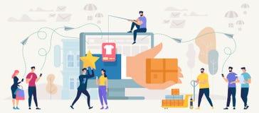 Compra e trabalhos em rede em linha Vetor ilustração stock
