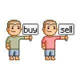 Compra e venda da arte do pixel Fotos de Stock