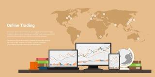 Compra e venda de ações em linha Fotografia de Stock