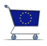 Compra em excesso do mercado do comércio da União Europeia foto de stock