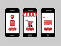 A compra em linha, ícone da loja ajustou-se no smartphone, vetor Fotos de Stock