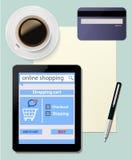 Compra em linha com comércio eletrónico digital da tabuleta em d Fotografia de Stock Royalty Free