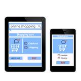 Compra em linha com ecomm digital do smartfon da tabuleta Fotos de Stock