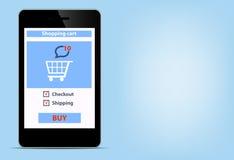 Compra em linha com smartfon vazio moderno digital Imagens de Stock Royalty Free