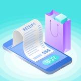 A compra em linha da conta com smartphone Vetor liso isométrico imagem de stock royalty free