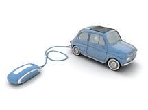 Compra em linha do carro do vintage no azul ilustração royalty free