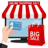 Compra em linha do computador com saco vermelho ilustração do vetor