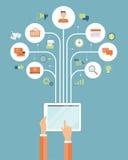 Compra em linha do negócio conceito em linha móvel da conexão ilustração do vetor
