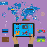 Compra em linha e conceito móvel do mercado Imagem de Stock