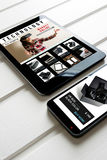 Compra em linha: loja em linha, venda de produtos da realidade virtual Imagem de Stock Royalty Free