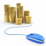 Compra en línea, actividades bancarias Fotografía de archivo libre de regalías