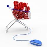 Compra en línea, concepto del descuento Imagenes de archivo