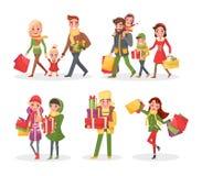 Compra, família e amigos do feriado do Natal ilustração do vetor