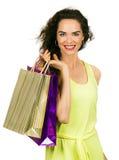 Compra feliz da mulher imagem de stock