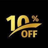 Compra negra del descuento de la bandera logotipo del oro del vector de la venta del 10 por ciento en un fondo negro Oferta promo Imágenes de archivo libres de regalías