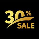 Compra negra del descuento de la bandera logotipo del oro del vector de la venta del 30 por ciento en un fondo negro Oferta promo Fotos de archivo