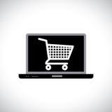 Compra o el hacer compras en línea usando el ordenador Foto de archivo libre de regalías