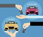 Compra ou aluguel do carro ilustração do vetor