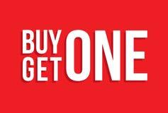 A compra uma obtém uma sombra da gota do sinal Imagens de Stock Royalty Free