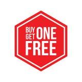 A compra uma obtém um hexágono livre do sinal Imagem de Stock