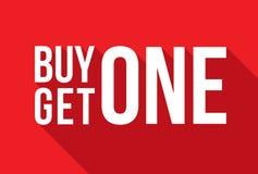 A compra uma obtém a um sinal a sombra longa Fotos de Stock Royalty Free
