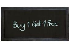 A compra uma obtém um tipo livre no fundo do quadro Imagens de Stock
