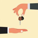Compra, venda ou compra do projeto de conceito do carro HOL da mão do vendedor ilustração do vetor