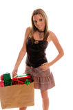 Comprador atractivo de la Navidad Fotografía de archivo libre de regalías