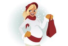 Comprador embarazado en invierno Imagenes de archivo