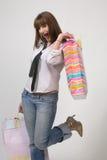 Comprador femenino feliz Foto de archivo libre de regalías
