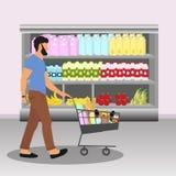 comprador Hombre con el carro por completo de la comida stock de ilustración