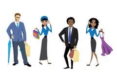 Compradores determinados de la moda ilustración del vector