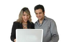 Compradores en línea felices Imagenes de archivo